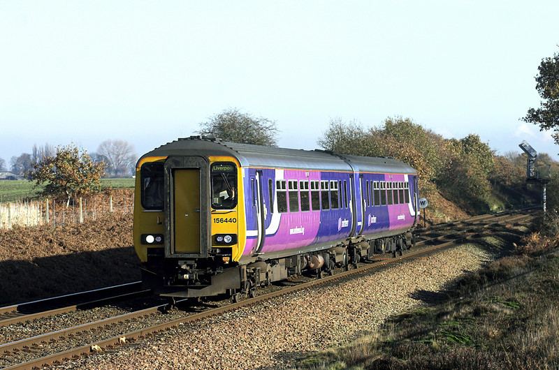156440 Lowton 15/11/2010<br /> 1F96 1141 Manchester Airport-Liverpool Lime Street