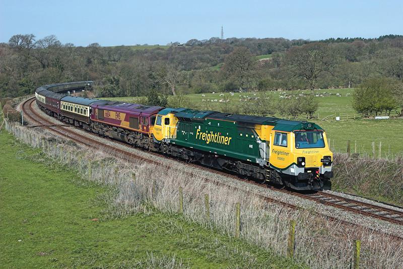 70003 and 66154, Wennington 17/4/2010<br /> 1Z66 0454 Swindon-Leeds
