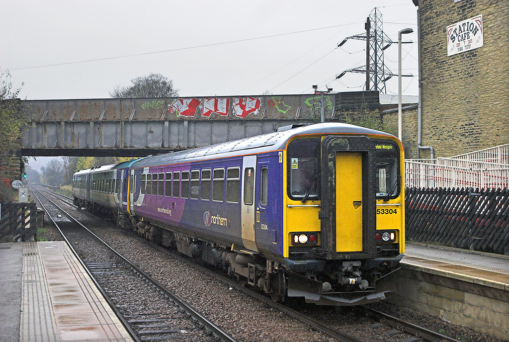 153304 and 158901, Brighouse 18/11/2010<br /> 2O73 1143 Selby-Wakefield Westgate