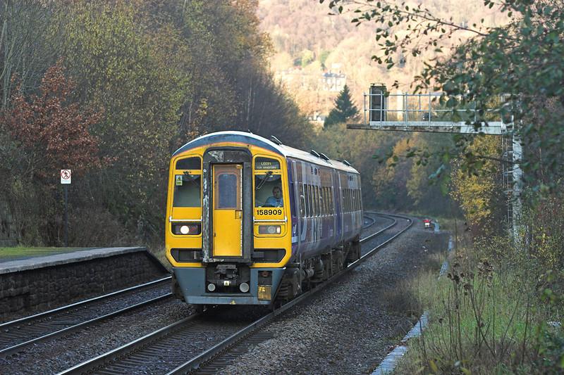 158909 Hebden Bridge 23/11/2010<br /> 2E11 0822 Manchester Victoria-Leeds