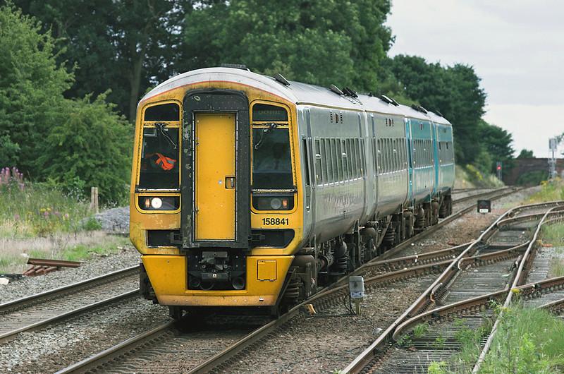158841 and 158837, Gobowen 27/7/2010<br /> 1D14 1309 Birmingham International-Holyhead