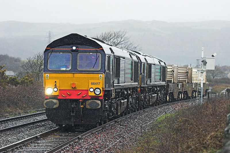 66417 and 66426, Foxfield 29/3/2010<br /> 6K73 1718 Sellafield-Crewe CLS