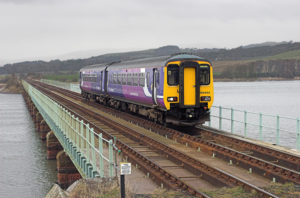 156444 Eskmeals Viaduct 29/3/2010<br /> 2C44 1043 Carlisle-Barrow in Furness