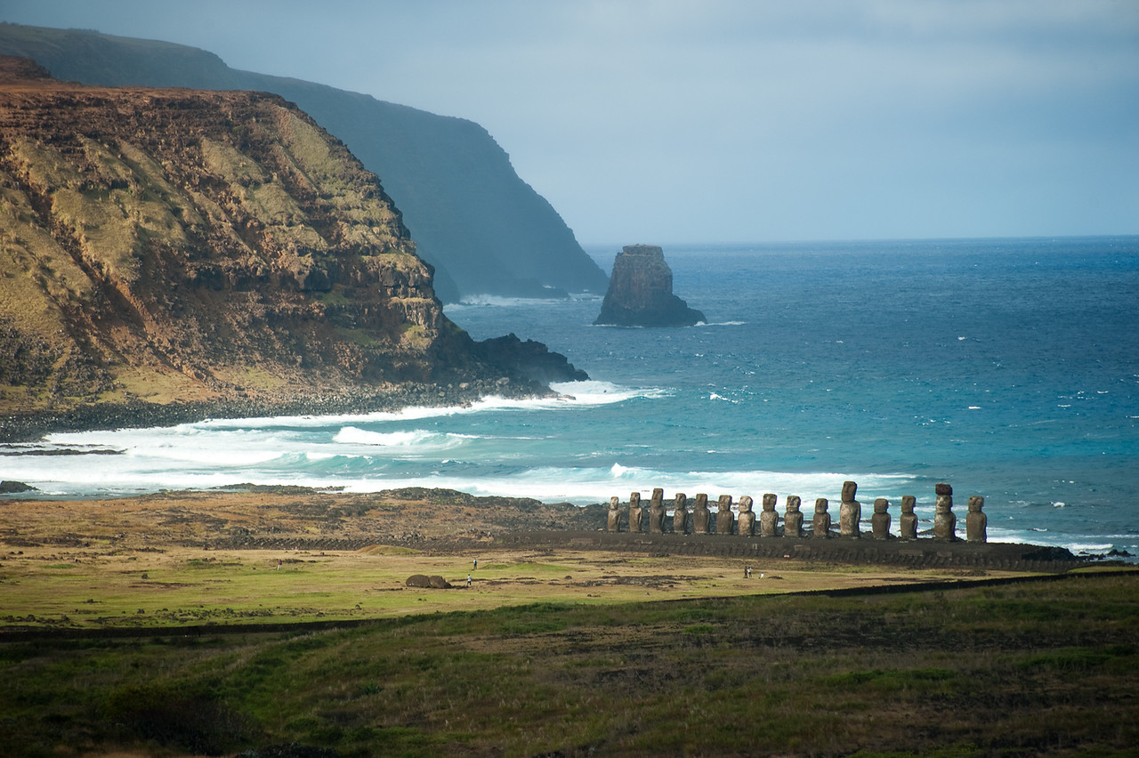 The moai at the beach at Tongariki can be seen from Rano Raraku quarry.
