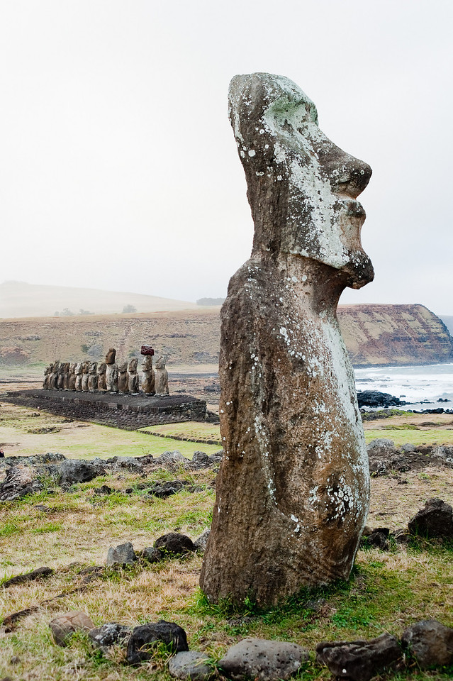 "The lone moai outside the ahu (platform) at Tongariki.  It's the only one facing in the ""wrong"" direction, so perhaps it was not resurrected properly."