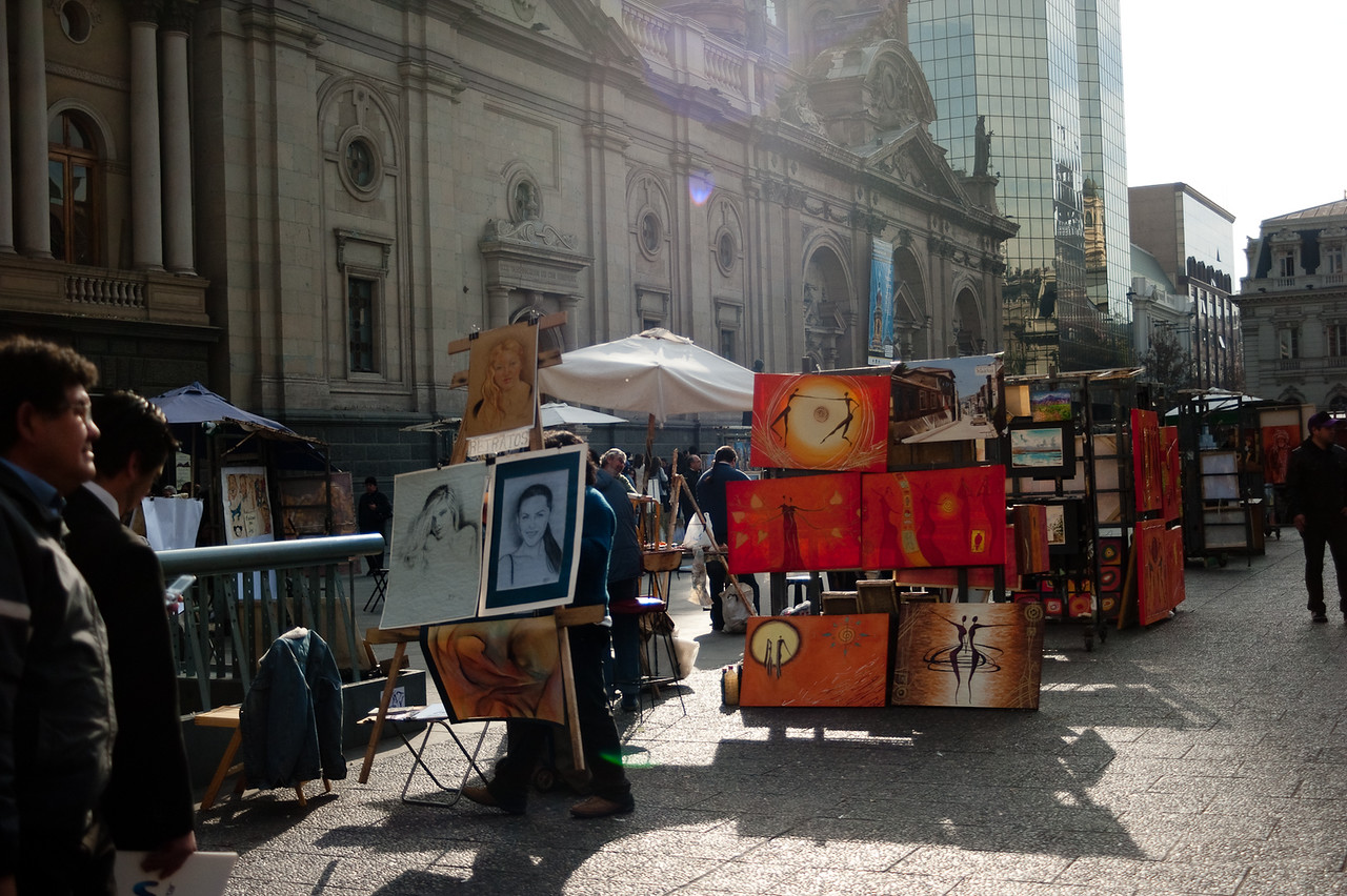 Local artists selling their works at Plaza de Armas (central Santiago)