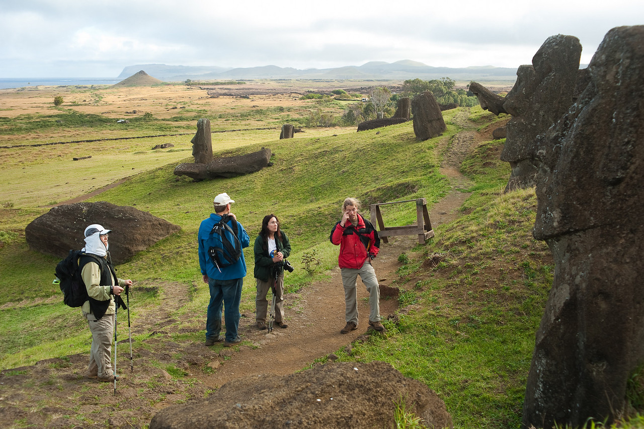 Since we arrived on Easter Island well in advance of the eclipse, we were able to have sites like Rano Raraku all to our selves! In this picture along with Jean and our friends Greg and Vicki is our guide Matias. We had some nice hikes to remote areas of the island over several days with Matias and his friend Yoyo.