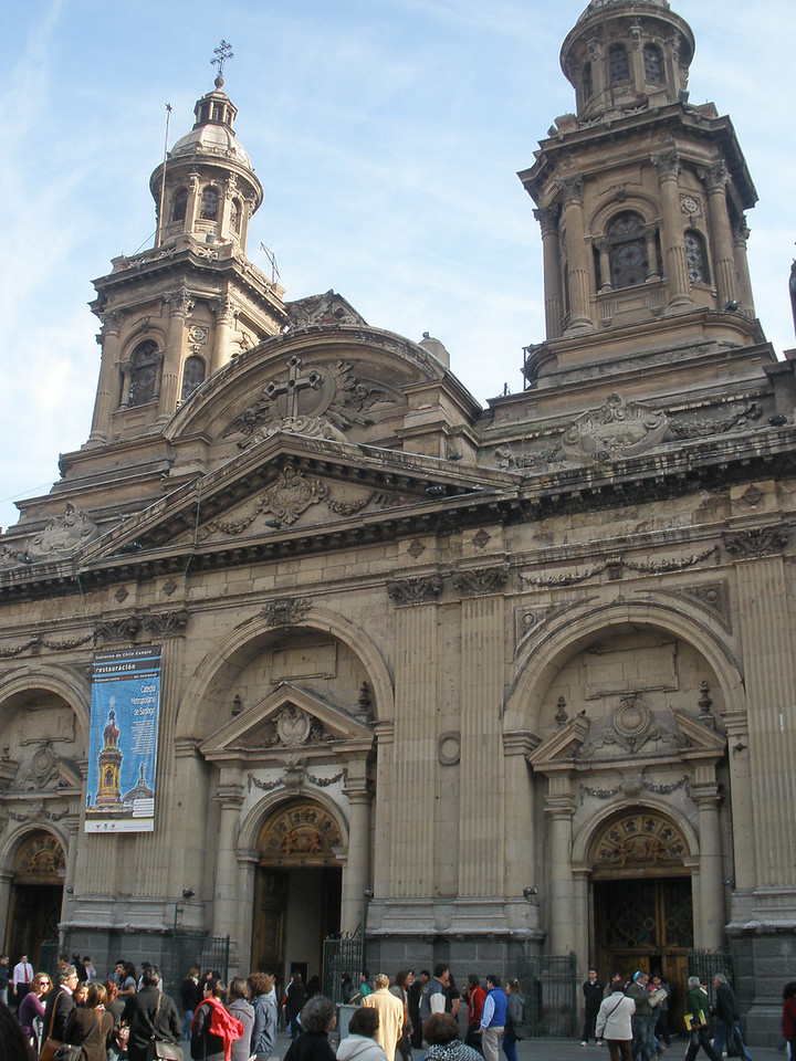 Catedral Metropolitana at the Plaza de Armas (central Santiago). The pedestal on top of the building held a statue which toppled during the 8.8 magnitude earthquake last February. The epicenter was about 200 miles south of Santiago, but was felt as far away as Argentina and Peru.