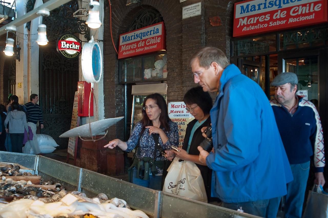 Checking out Mercado Central (the Central Market), Santiago