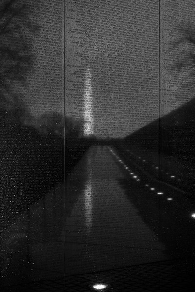 Reflection in the Rain II<br /> <br /> Washington Memorial reflected at Vietnam Veterans Memorial