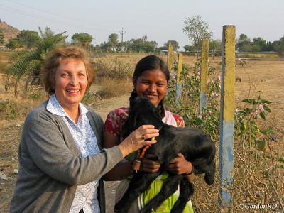 Nahid Gordon and Bablee Barel with her baby goat