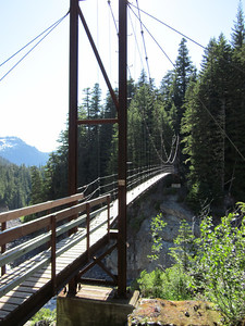 Our first, and highest, suspension bridge.  One person at a time!  The bridge is 100' high and about 250' long.