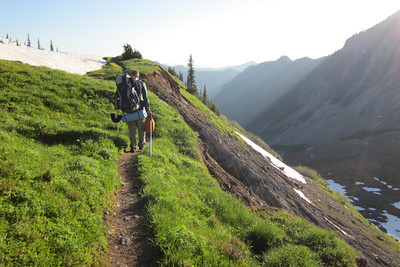 Traversing the back side of the ridge - we ate dinner at the small clump of bushy trees while watching the sunset.