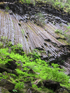 """Rock formation near camp called """"Devil's Pipe Organ"""".  Caused by quick cooling lava flows against ice."""