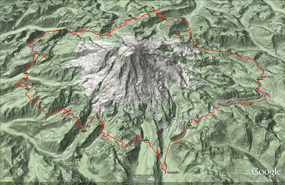 A topographic view of our route.  We climbed the equivalent of going to the top of Rainier... 2.5 times!