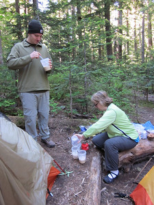 Breakfast at our first camp - Pyramid Creek.