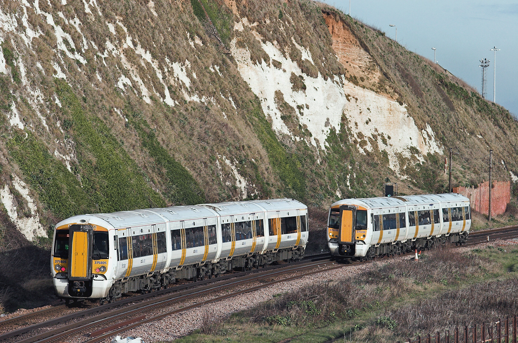 375805 and 375310, Dover Shakespeare Cliff 2/12/2011<br /> 375805: 2R32 1142 London Charing Cross-Ramsgate<br /> 375310: 2W44 1324 Dover Priory-London Charing Cross