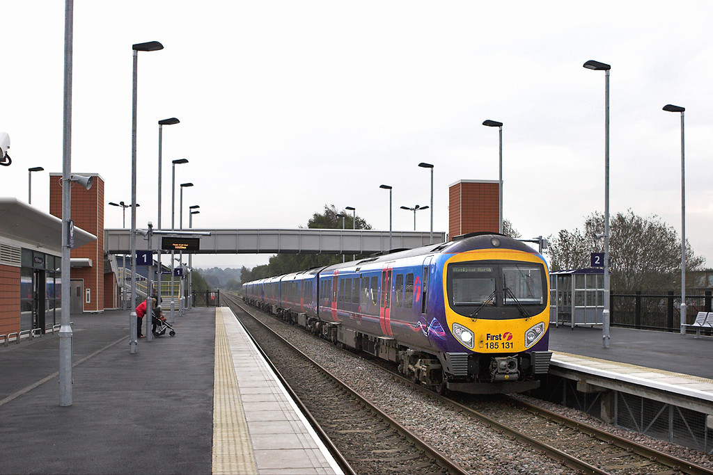 185131 and 185117, Buckshaw Parkway 3/10/2011<br /> 1N58 0929 Manchester Airport-Blackpool North
