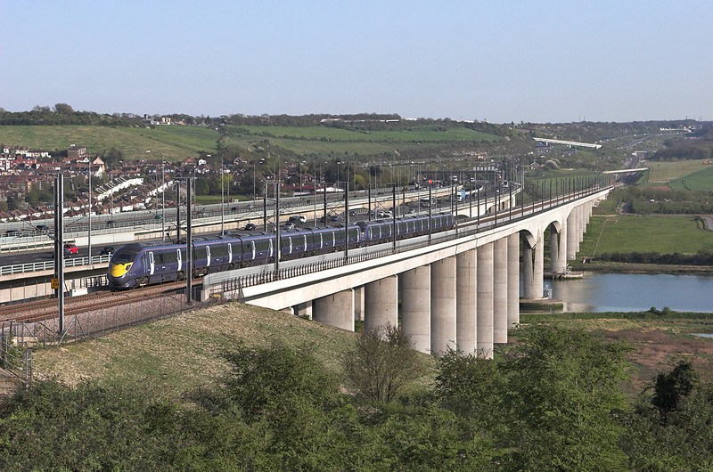 395024 and 395028, Medway Viaduct 8/4/2011<br /> 1J50 1710 London St Pancras International-Margate and Dover Priory