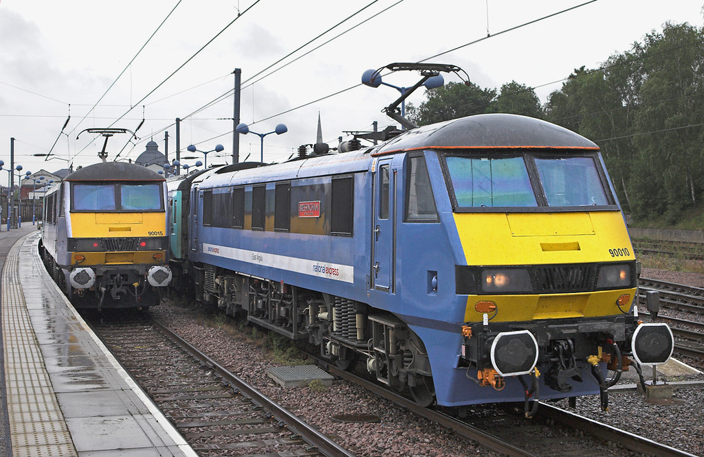 90010 and 90015, Norwich 21/7/2011<br /> 90010: 1P29 1030 Norwich-London Liverpool Street<br /> 90015: 1P31 1100 Norwich-London Liverpool Street