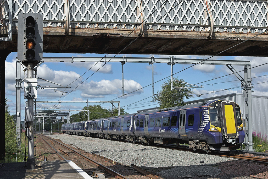 380014 and 380020, Hillington West 23/7/2011<br /> 2K14 1013 Ayr-Glasgow Central