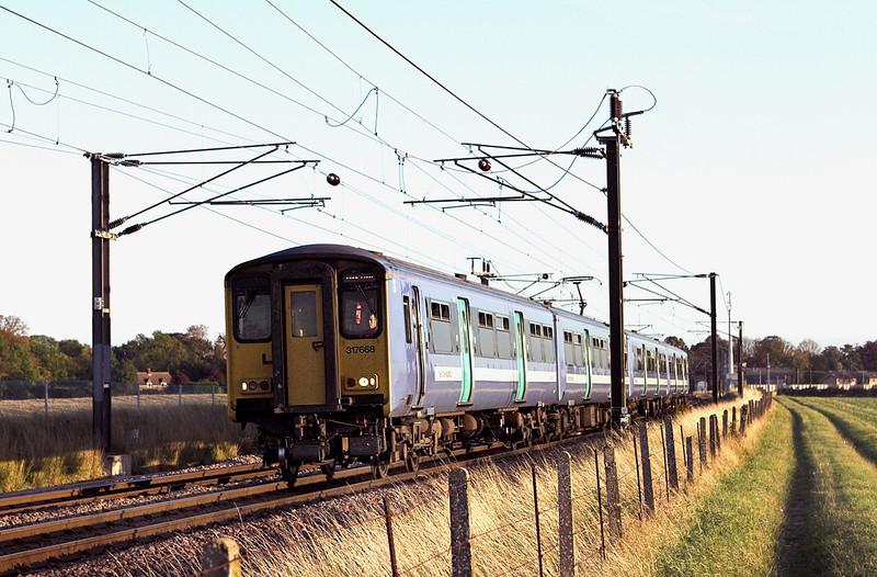 317668 Shepreth Branch Junction 27/9/2011<br /> 1H82 1658 London Liverpool Street-Kings Lynn