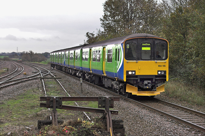 150116 and 150113, Kirkham and Wesham 31/10/2011<br /> 2N97 1322 Manchester Victoria-Blackpool North