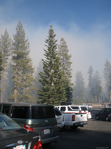 The burn area extended to the opposite side of the road, right up to the north park entrance's visitor's center.