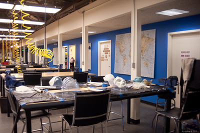 Main general work area.  Notice the elaborate masks in progress on the nearest workbench.  Clearly, Halloween is approaching! [TechShop Menlo Park]