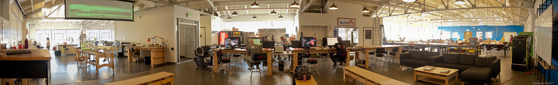"Panoramic view of the 3rd floor of the San Francisco Tech shop.  On this floor are the general work areas with benches, laser cutters, sewing machines, composites work area, and more.  The first/second floors hold the ""heavy"" machine for wood and metal."