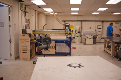 "Wood shop, including an NC Shopbot router.  Many of the TechShop's ""furnishings"" seem to have been made here. [TechShop Menlo Park]"