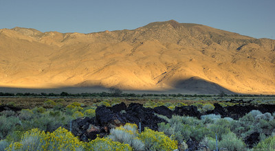 The sun had set behind the eastern Sierras, but were still lighting up the foothills of the White Mountains.