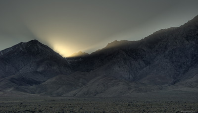 The sun sets for us behind the eastern Sierras.