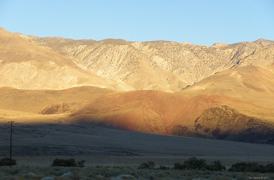More hints of volcanism in Owens Valley, accentuated by sunset colors.  Behind the hills -- Death Valley.