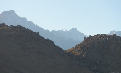 Telephoto shot of Mt. Whitney, seen through a notch in the nearby Alabama Hills.