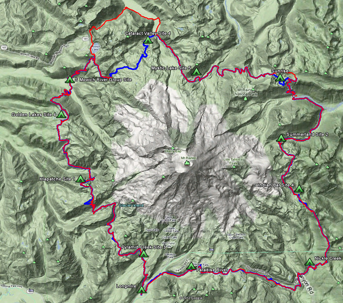 "Red is our 2011 GPS track log, Blue is from 2012.  Overall we stayed on the trail last year pretty well considering how much of it was under snow.  When zoomed in you can see lots of deviations and minor off trail diversions last year while working through the snow.  ***  ""Hell Day"" was on the Southwest side and a large deviation is visible.  On the Northwest side we took the Spray Park alternative ""high route"" this year.  At Sunrise we took a different route last year since we were not staying at that camp."