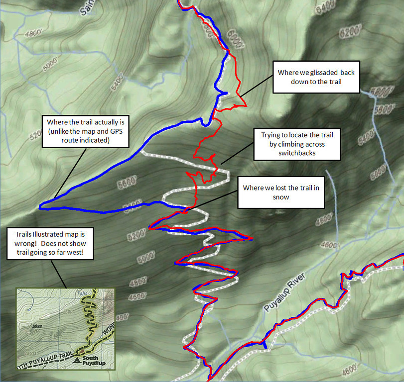 Anatomy of Hell Day 2011 where we lost the trail in snow and then had to bushwhack up about 700 very steep feet to cross over a ridge. Red is our 2011 route and blue is the actual path. Note the GPS route (dashed grey) and Trails Illustrated map route (inset) are both out of date with respect to the actual trail (blue). Unfortunately this was a bad place for the map to lead us astray last year. At least I now know why we could not relocate the trail by crossing switchbacks.