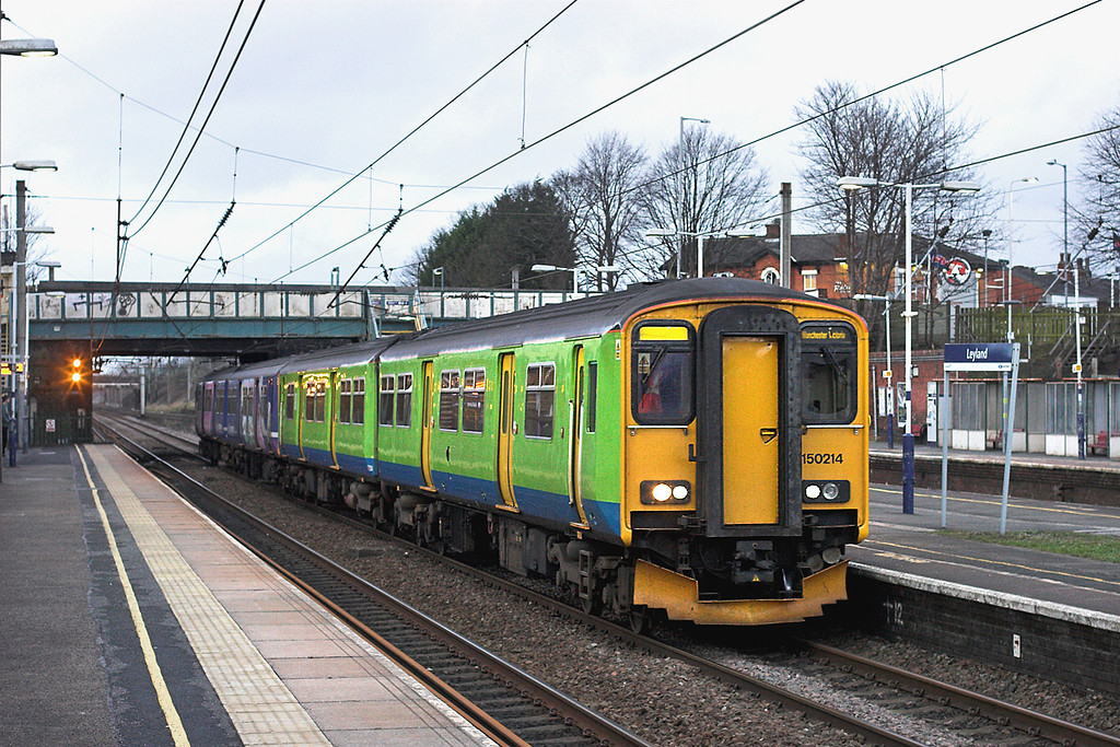 150214 and 150215, Leyland 2/1/2012<br /> 2J48 1520 Blackpool North-Manchester Victoria