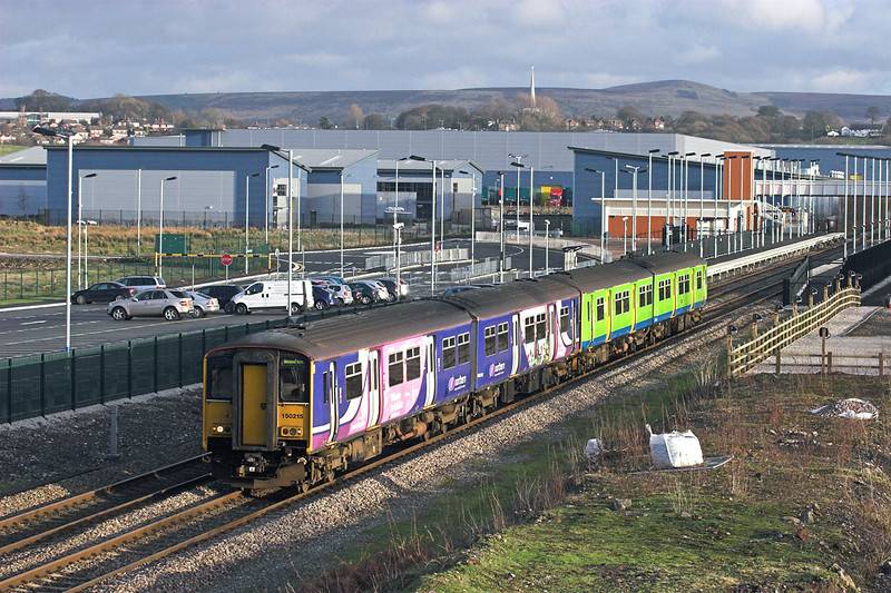 150215 and 150214, Buckshaw Parkway 2/1/2012<br /> 2N97 1322 Manchester Victoria-Blackpool North