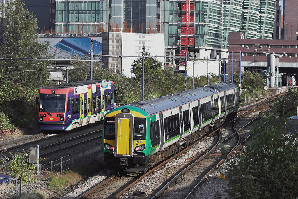 172334 and Midland Metro 08, Birmingham St Pauls 4/9/2012<br /> 172334: 2H26 1725 Stourbridge Junction-Leamington Spa