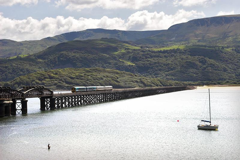 158836 and 158819, Barmouth 9/8/2012<br /> 2J07 1054 Machynlleth-Pwllheli