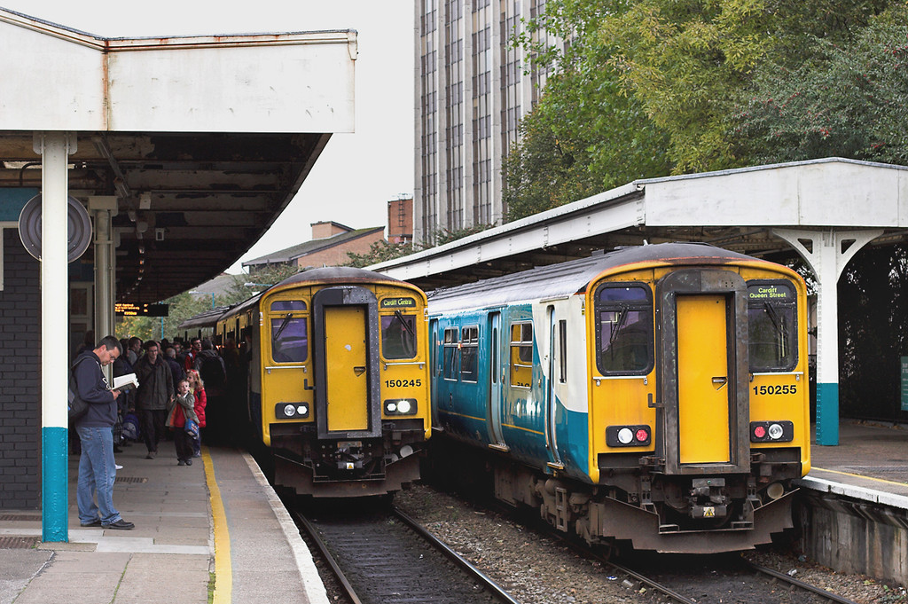 150255 and 150245, Cardiff Queen Street 19/10/2012<br /> 150255: 2B94 1600 Cardiff Queen Street-Cardiff Bay<br /> 150245: 2Y61 1451 Aberdare-Barry Island