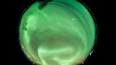 This is a quick edit time-lapse view (8mm fisheye lens view) of aurora from Abisko, Sweden (15 Dec. 2012).  Virtually the entire sky is visible in this view.  This video will be replaced later when a final version is ready.