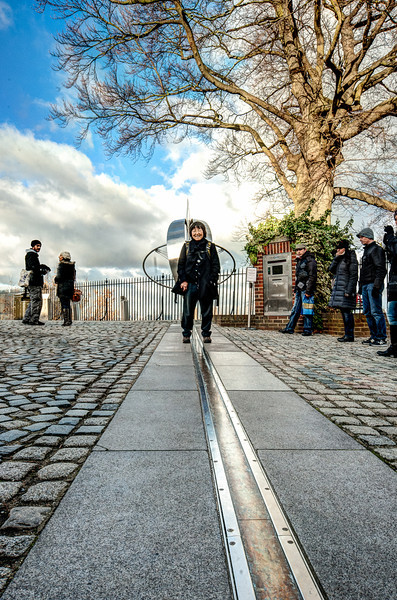 The Prime Meridian east-west dividing line.