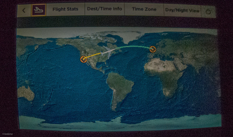 Air route of our flight (Virgin Atlantic 008), currently just north of the U.S.-Canada border.