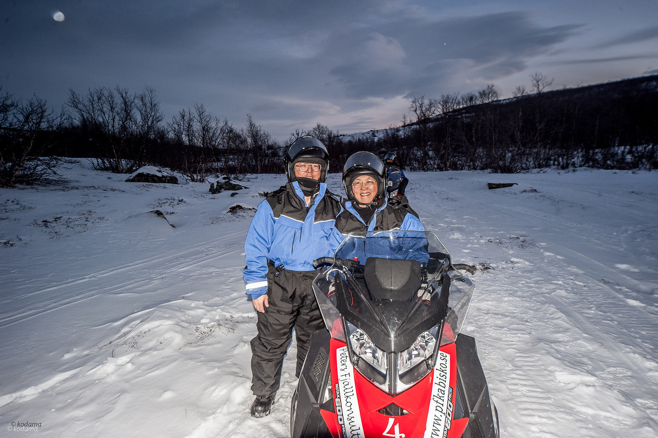 Snowmobiling - We each had our own snowmobile, wchich is much easier to control than dogs!