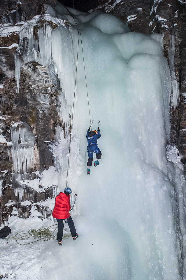Ice climbing - tough, wet, and freezing!