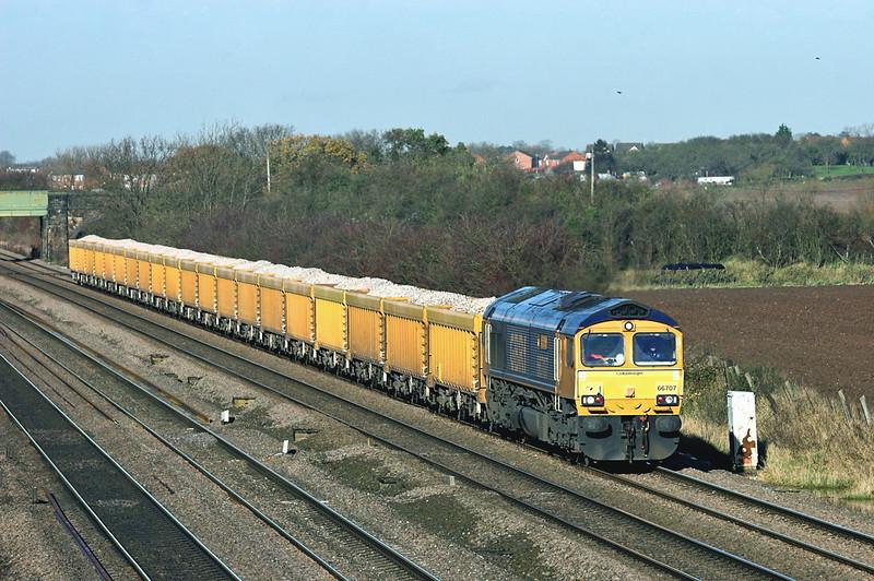 66707 Cossington 23/11/2012<br /> 6L24 1034 Mountsorrel-Whitemoor Yard