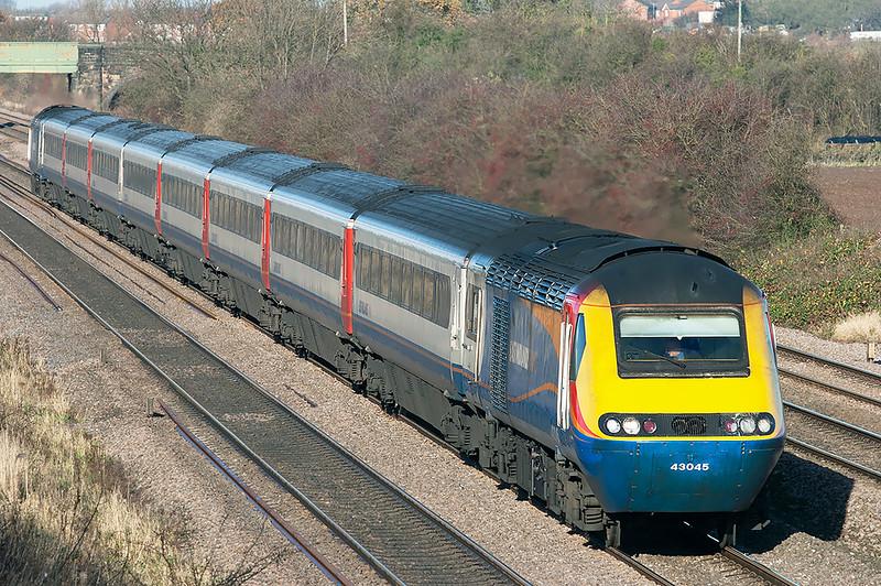 43045 and 43052, Cossington 23/11/2012<br /> 1B33 1028 Nottingham-London St Pancras