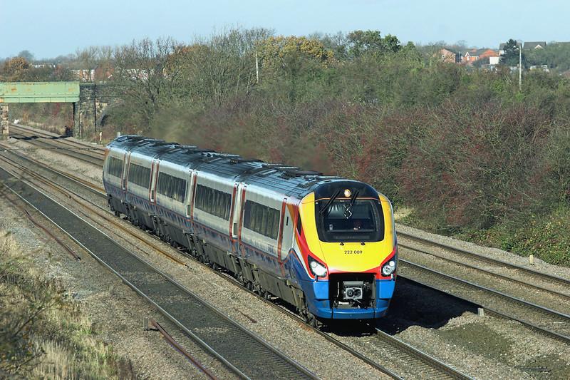 222009 Cossington 23/11/2012<br /> 1B36 1102 Nottingham-London St Pancras
